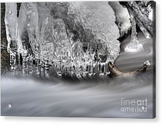 Ice Formation Above Stream Acrylic Print by Dan Friend