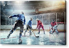 Ice Hockey Players In Action Acrylic Print by Dmytro Aksonov