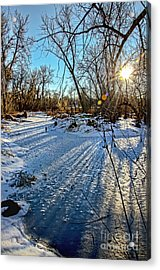 Ice Pond Sunset Acrylic Print
