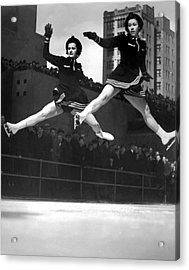 Ice Skaters Perform In Ny Acrylic Print by Underwood Archives