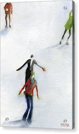 Ice Skaters Watercolor Painting Acrylic Print by Beverly Brown
