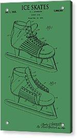 Ice Skates Patent On Green Acrylic Print