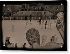 Ice Skating At Rockefeller Center In The Early Days Acrylic Print by Dan Sproul