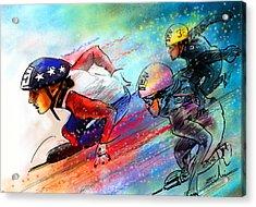 Ice Speed Skating 02 Acrylic Print by Miki De Goodaboom