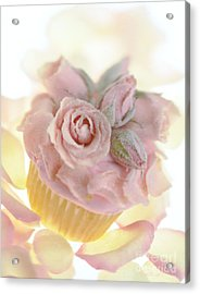 Iced Cup Cake With Sugared Pink Roses Acrylic Print by Iris Richardson
