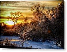 Iced Sunset Acrylic Print by Wanda Clowater