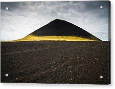 Iceland Minimalist Landscape Brown Black Yellow Acrylic Print