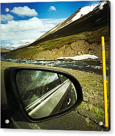 Iceland Roadtrip - Landscape And Rear Mirror Of Car Acrylic Print
