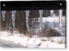 Acrylic Print featuring the photograph Icicles On The Bridge by Nina Silver
