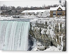 Icicles Over The Falls Acrylic Print