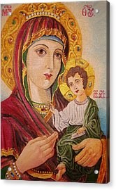 Acrylic Print featuring the painting Icon by Nina Mitkova