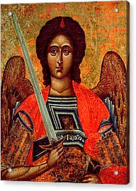 Icon Of The Angel Michael Acrylic Print by Greek School