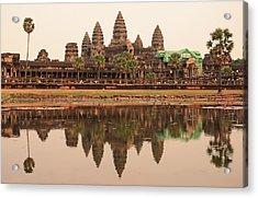 Iconic Angkor Wat Reflecting In Lake Acrylic Print