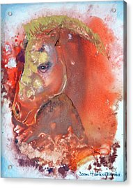 Acrylic Print featuring the painting Iconic Horse Head by Joan Hartenstein