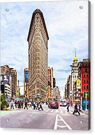 Iconic New York City Flatiron Building Acrylic Print by Mark E Tisdale