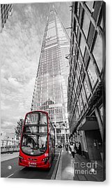 Iconic Red London Bus With The Shard - London - Selective Colour Acrylic Print by Ian Monk