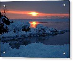 Acrylic Print featuring the photograph Icy Lake Superior Sunrise by Sandra Updyke
