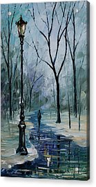 Icy Path - Palette Knife Oil Painting On Canvas By Leonid Afremov Acrylic Print by Leonid Afremov
