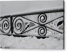 Icy Railing Acrylic Print by Mark Alan Perry