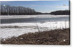 Acrylic Print featuring the photograph Icy Wabash River by Tony Mathews
