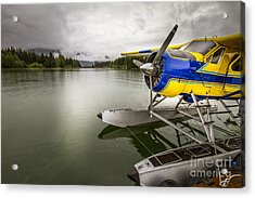 Idle Float Plane At Juneau Airport Acrylic Print by Darcy Michaelchuk