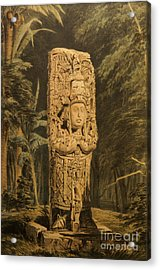 Idol At Copan By Frederick Catherwood Acrylic Print by John  Mitchell