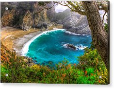 Idyllic Cove-1a. Mc Way Falls Julia Pfeiffer State Park - Big Sur Central California Coast Spring Acrylic Print