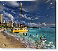 Idyllic Waikiki Beach Acrylic Print by David Smith