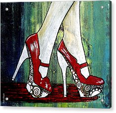 Acrylic Print featuring the painting If You Walked In My Shoes by Julie  Hoyle