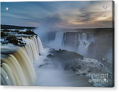 Iguacu Falls Sunset Majesty Acrylic Print by Mike Reid