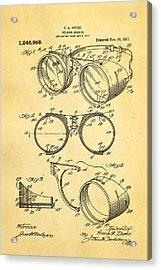 Ihrcke Welding Goggles Patent Art 1917 Acrylic Print by Ian Monk