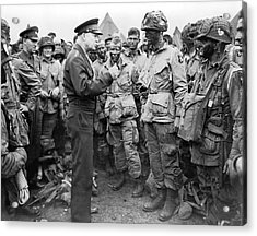 Ike With D-day Paratroopers Acrylic Print by Underwood Archives