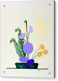 Ikebana #2 Green Pot Acrylic Print by Thomas Gronowski
