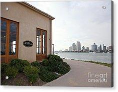 Il Fornaio Italian Restaurant In Coronado California Overlooking The San Diego Skyline 5d24364 Acrylic Print by Wingsdomain Art and Photography