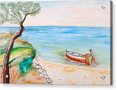 Acrylic Print featuring the painting Il Pescatore Solitario by Loredana Messina