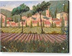 Il Villaggio Tra I Campi Di Lavanda Acrylic Print by Guido Borelli