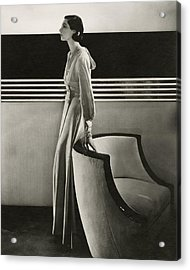 Ilka Chase Wearing Black Starr And Frost-gorham Acrylic Print by Edward Steichen