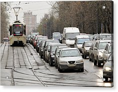 Illegally Parked Cars Next To Tramline Acrylic Print by Science Photo Library