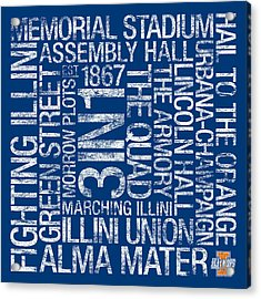 Illinois College Colors Subway Art Acrylic Print by Replay Photos