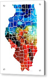 Illinois - Map Counties By Sharon Cummings Acrylic Print
