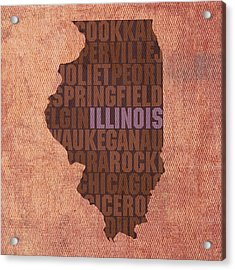 Illinois State Word Art On Canvas Acrylic Print by Design Turnpike