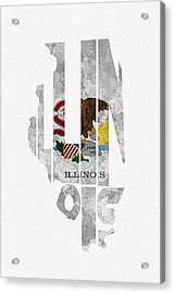 Illinois Typographic Map Flag Acrylic Print by Ayse Deniz