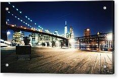 Illuminated Brooklyn Bridge By City Acrylic Print by Arnaud Mallen / Eyeem