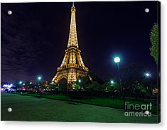 Illuminated Eiffel Tower At Midnight Acrylic Print by Rostislav Bychkov