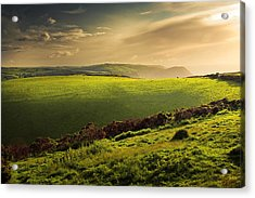Illuminated Evening Landscape North Devon Acrylic Print by Dorit Fuhg