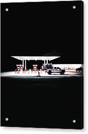 Illuminated Gas Station With Car At Acrylic Print by Constantin Renner / Eyeem