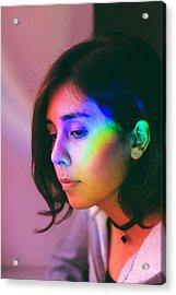 Illuminated Light Falling On Thoughtful Woman Face Acrylic Print by Camilo Fuentes Beals / EyeEm