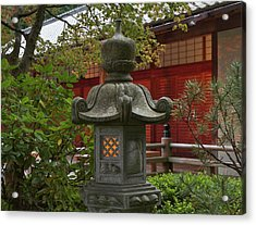 Illuminated Stone Lantern And Pavilion Acrylic Print by William Sutton