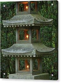 Illuminated Stone  Pagoda Lantern Acrylic Print by William Sutton