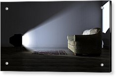 Illuminated Television And Lonely Old Couch Acrylic Print by Allan Swart